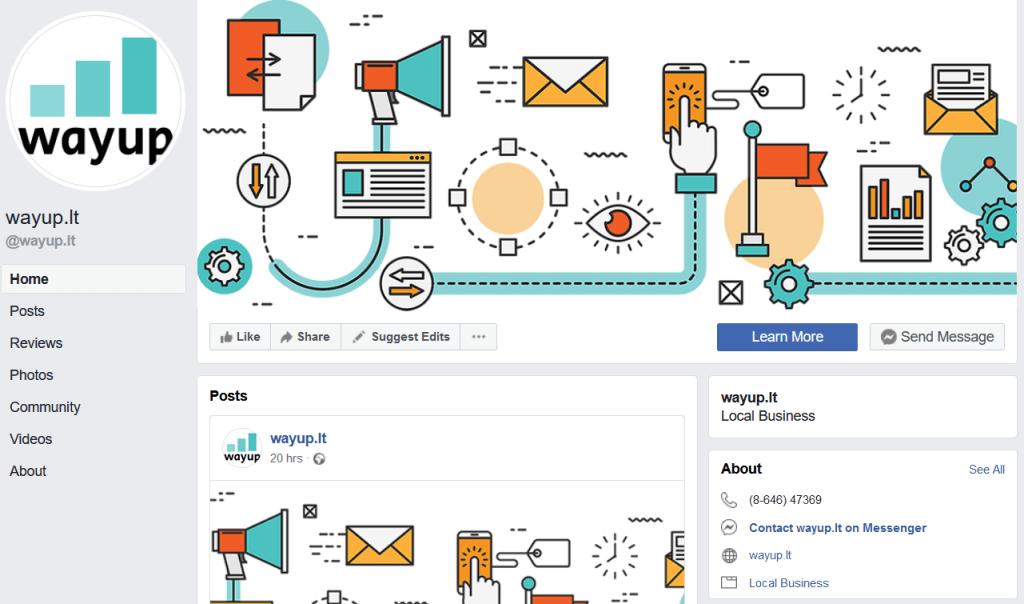 Facebook puslapio pavyzdys