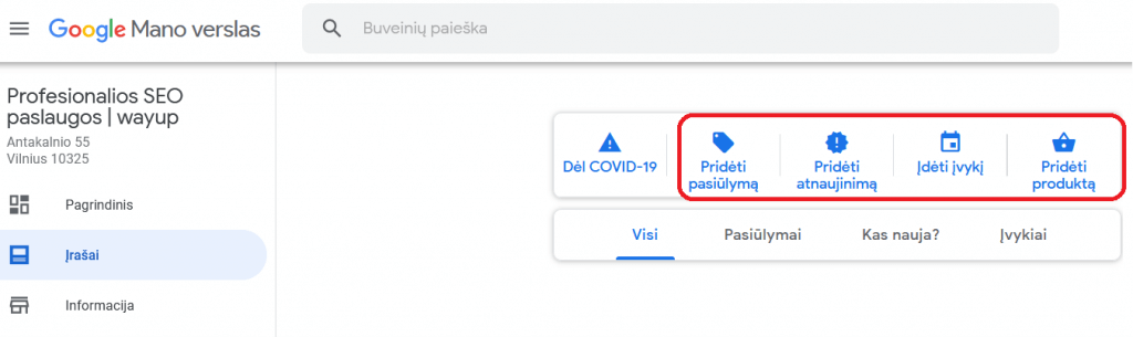 """Google mano verslas"" valdymo skydelis"